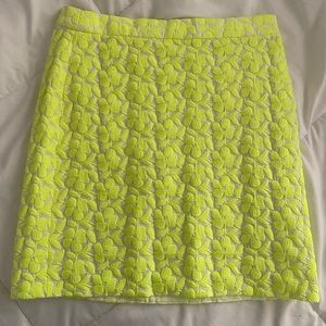 J Crew Neon Green Floral Embroider Skirt!
